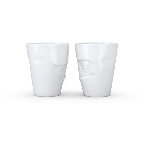 - zestaw 2 kubków - mrukliwa buźka i łobuziak - biały błyszczący - 2 x 350 ml marki 58products