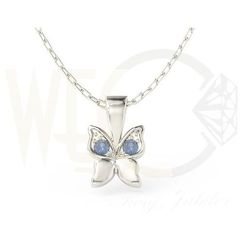 Wisiorek w kształcie motyla z białego złota z niebieskimi cyrkoniami BPW-88B-C - Białe