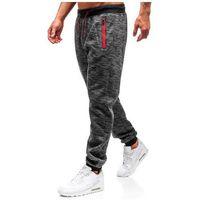Spodnie męskie dresowe joggery grafitowe Denley 55050, kolor niebieski