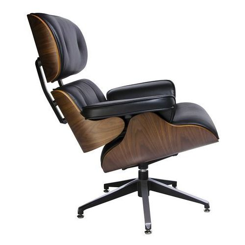 Fotel LOUNGE czarny, sklejka orzech - skóra naturalna, T044.BLACK (7811623)