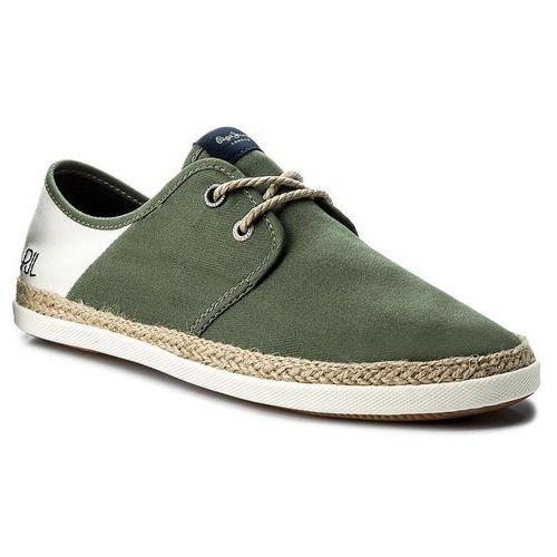 Espadryle PEPE JEANS - Maui Laces Fabrics PMS10226 Khaki Green 765, kolor zielony