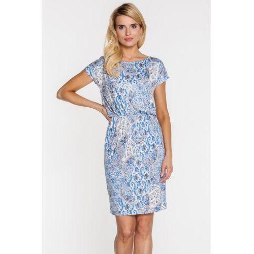 Zwiewna sukienka we wzory paisley - Vito Vergelis, kolor niebieski