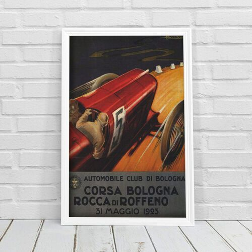 Plakat w stylu vintage Plakat w stylu vintage Wyścig samochodowy Grand Prix Corsa Włochy