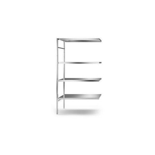 Regał wtykowy ze stali szlachetnej, 4 gładkie półki,szer. półki x gł. 940 x 540 mm