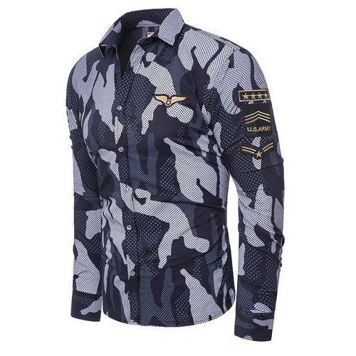 Koszula męska długi rękaw rl64 - granatowa, w 6 rozmiarach