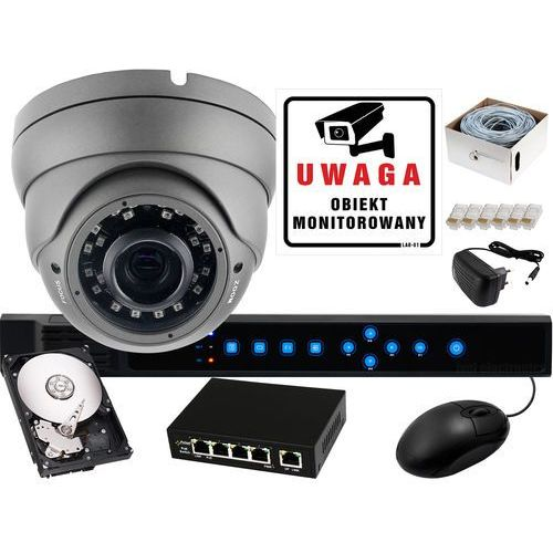 Zestaw do monitoringu IP: Rejestrator sieciowy 4 kanałowy BCS-P-NVR0401, 1 x Kamera LV-AMB3M4IPDVBL, Dysk 1TB, Akcesoria