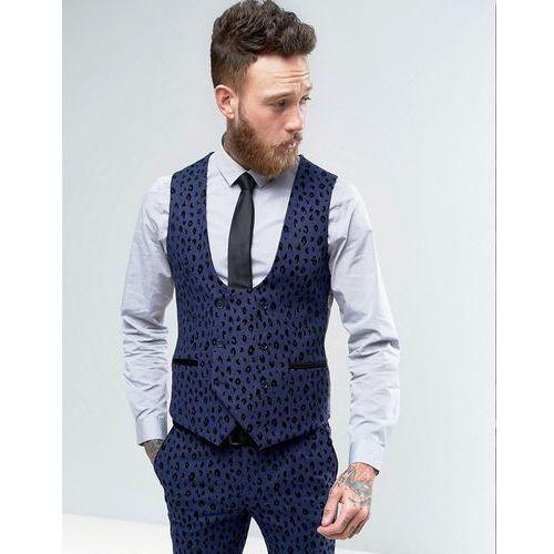 Noose & Monkey Super Skinny Waistcoat With Leopard Flocking - Blue ()