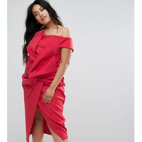 premium bow front twist off the shoulder midi scuba dress - red marki Asos curve