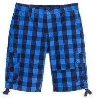 Bermudy Loose Fit bonprix lazurowo-ciemnoniebieski w kratę, kolor niebieski