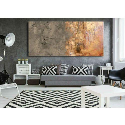 Obrazy ręcznie malowane - metaliczna abstrakcja z popielatym beżem