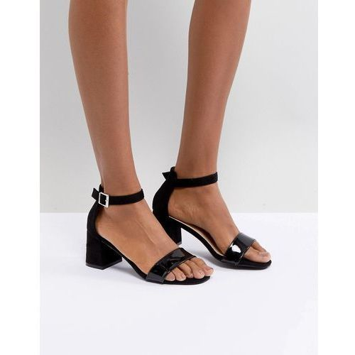Glamorous Barely There Mid Heeled Block Sandal in Black - Black, kolor czarny