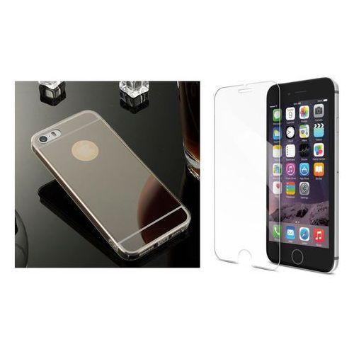Zestaw   Slim Mirror Case Czarny + Szkło ochronne Perfect Glass   Etui dla Apple iPhone 6 / 6S