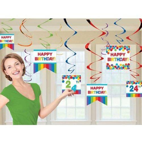 Amscan Dekoracja wisząca świderki happy birthday - 12 szt. (0013051564698)