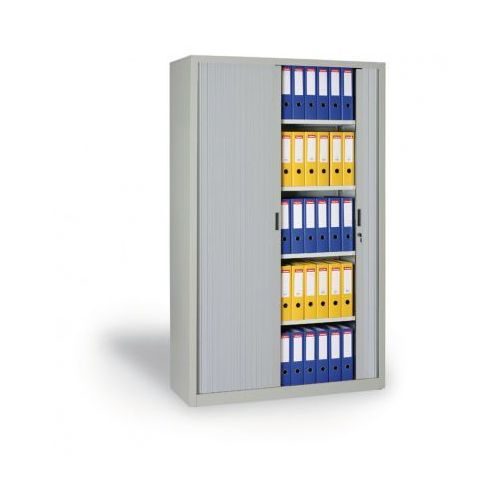B2b partner Szafa metalowa z żaluzjowymi drzwiami, 1990x1000x450 mm, jasnoszary