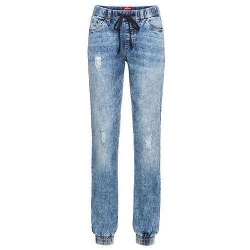 Luźniejsze spodnie chino z kieszeniami z zamkiem szary marki Bonprix