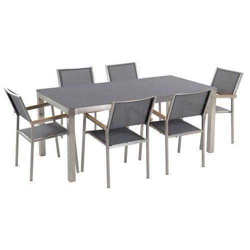 Zestaw ogrodowy szary ceramiczny blat 180 cm 6 szary krzeseł GROSSETO (4251682207911)