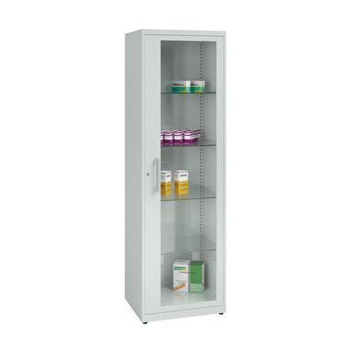 Szafka na lekarstwa, 1 drzwi skrzydłowe, 4 półki, jasnoszara. z blachy stalowej marki Mauser