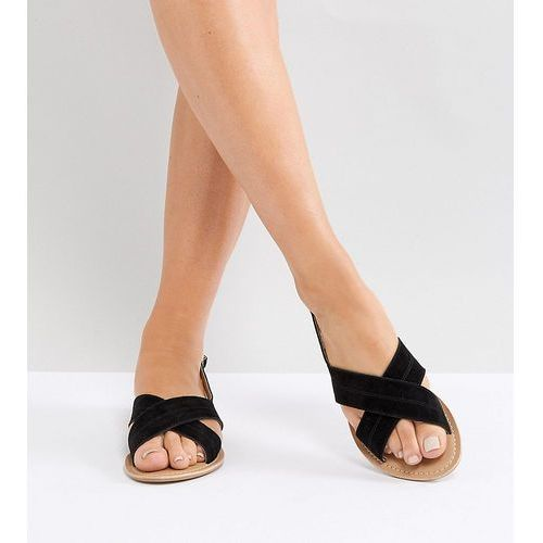 Park Lane Wide Fit Suede Flat Sandals - Black, kolor czarny