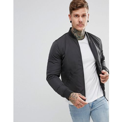 New Look Bomber Jacket With MA1 Pocket In Dark Grey - Grey