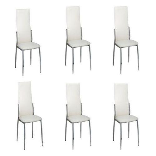 vidaXL Krzesła jadalniane, białe z chromowaną ramą x6 (8718475822561)