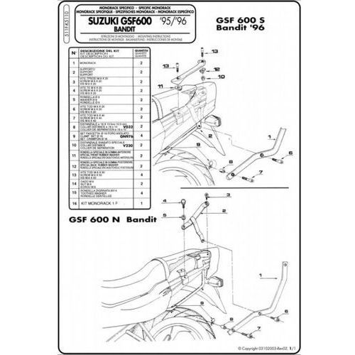 Stelaż k5110 suzuki bandit gsf600/1200 96-99 marki Kappa