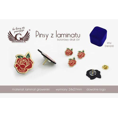 Przypinki/Pinsy mini z Twoim logo - wym: 24x27mm - kolorowy druk UV - PS024