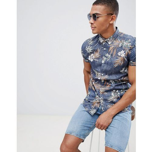 New look shirt in muscle fit with floral print in blue - blue