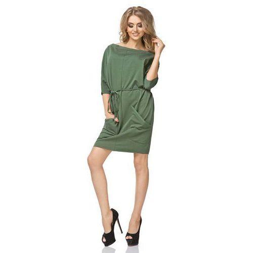 Tessita Zielona sukienka luźna o sportowym kroju z paskiem