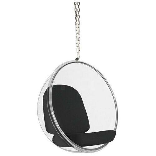 Fotel wiszący bubble poduszka czarna - korpus akryl, poduszka wełna marki Sofa.pl