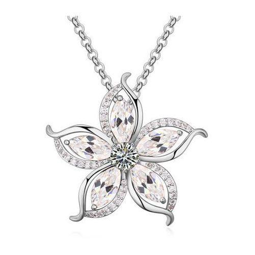 Exclusive by milla Exclusive naszyjnik z pięknym kwiatem srebrny - srebrny