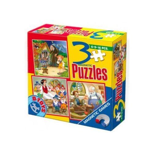 23-077801 Puzzle Jaś i Małgosia, Królewna Śnieżka, Pinokio - PUZZLE MAGNETYCZNE