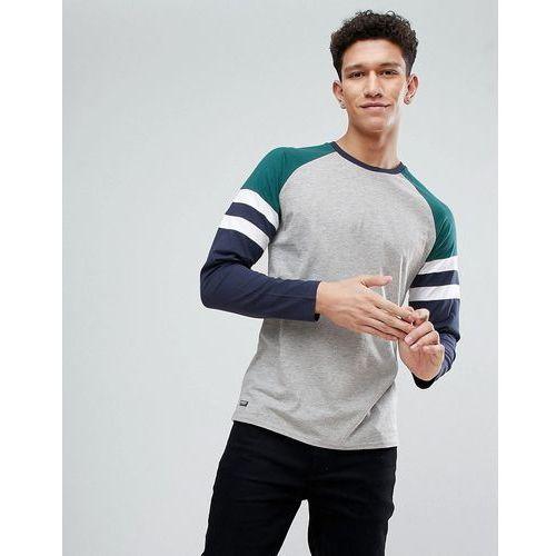 Threadbare Contrast Stripe Raglan Long Sleeve Top - Blue