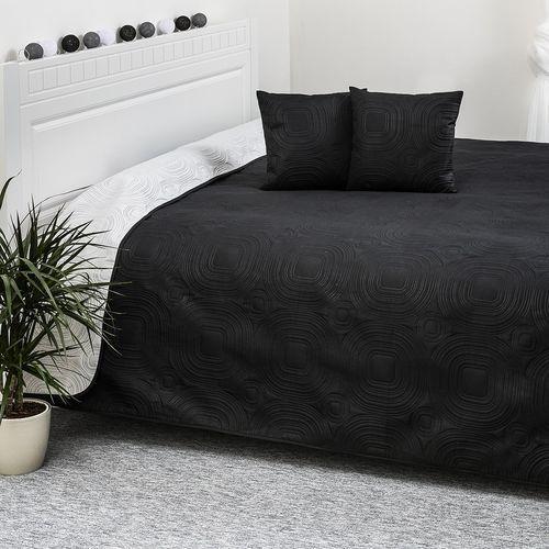 4home  narzuta na łóżko doubleface biały/czarny, 220 x 240 cm, 40 x 40 cm