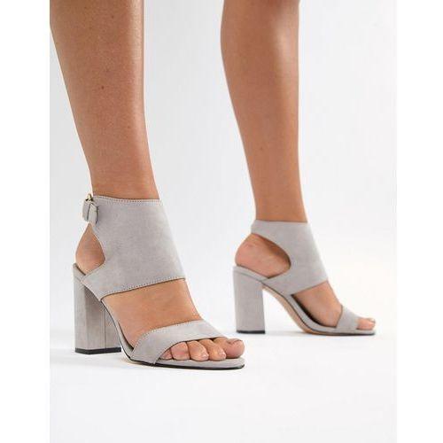 heeled sandals with block heel in grey - grey, River island