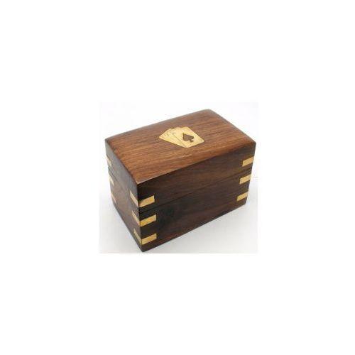 Szkatułka i 2 Talie Karty do Gry Drewno Gra Indie