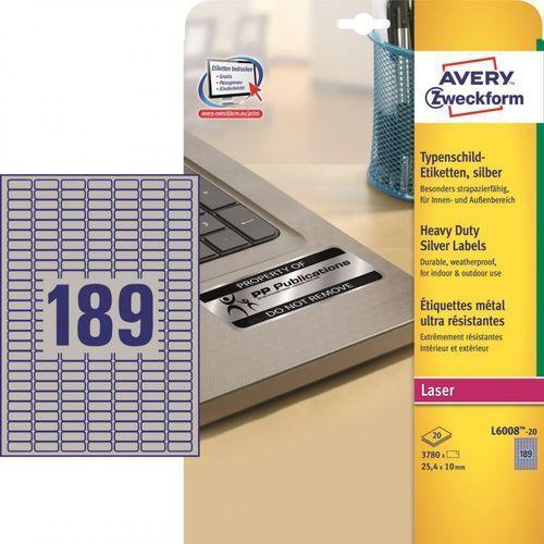 Etykiety znamionowe Avery Zweckform L6008, 25,4x10mm