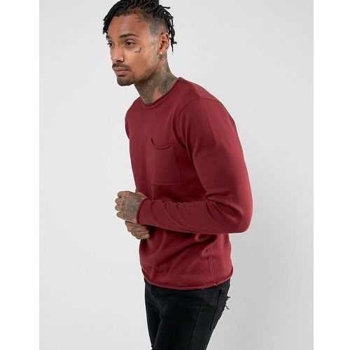 knitwear fine gauge crew neck knit with pocket - red marki D-struct