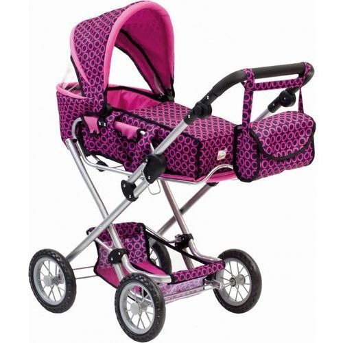 Bino Duży wózek dla lalek z torbą, różowoczarny
