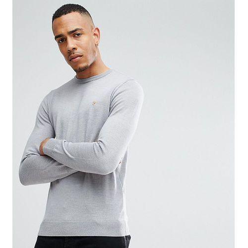 tall mullen slim fit merino jumper in light grey - grey marki Farah