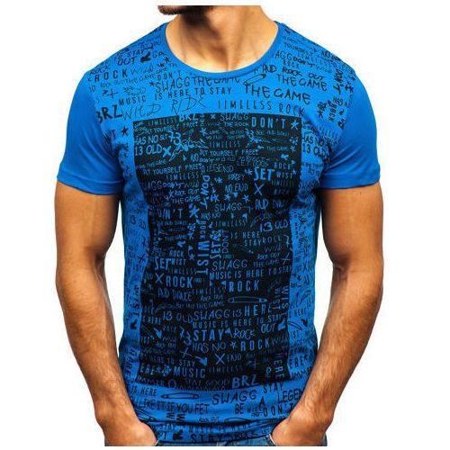 T-shirt męski z nadrukiem niebieski Denley 1173, kolor czarny