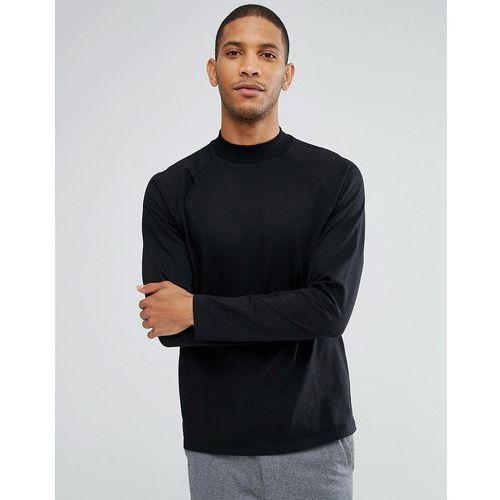 ASOS Relaxed Long Sleeve Raglan T-Shirt With High Neck In Black - Black, kolor czarny