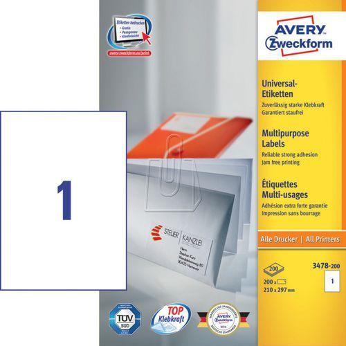 Avery zweckform Etykiety uniwersalne  trwałe 210 x 297mm 200 ark./op. 3478-200 (4004182249628)