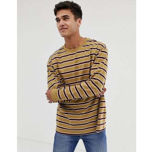 New Look oversized long sleeve cuff t-shirt in caramel stripe - Tan