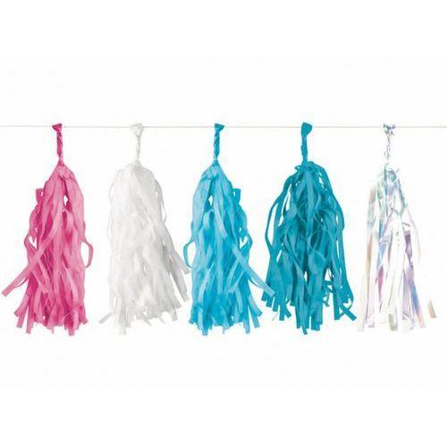 Girlanda z frędzlami różowymi, białymi, błękitnymi i niebieskimi - 3 m - 1 szt.