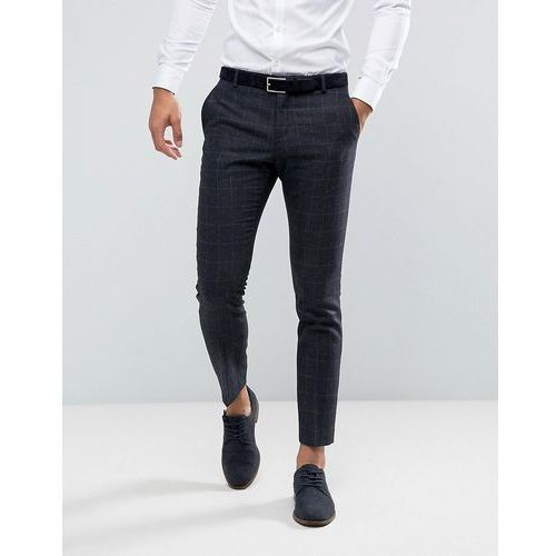 slim suit trouser in wool mix with grid check - navy, Selected homme