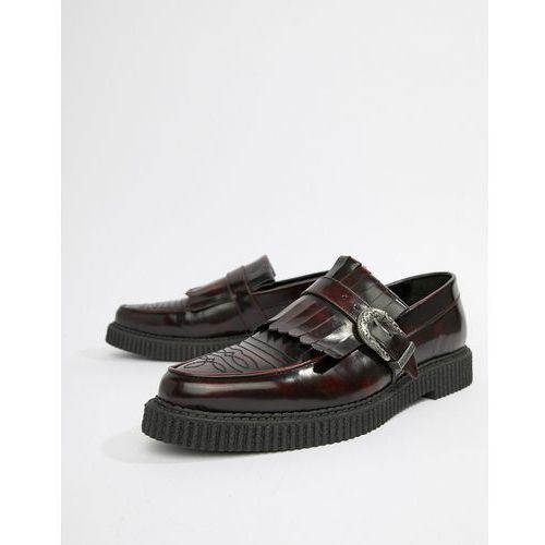 ASOS DESIGN Creeper Loafers In Burgundy Leather With Fringe Detail - Red