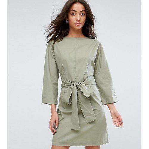 ASOS TALL Casual Tie Waist Mini Dress - Green, kolor zielony
