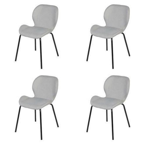 Zestaw 4 krzeseł w kolorze jasnoszarym stalowe nogi - Posa, kolor szary