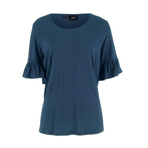 Bluzka bonprix biel wełny - niebieskozielony z nadrukiem, w 8 rozmiarach