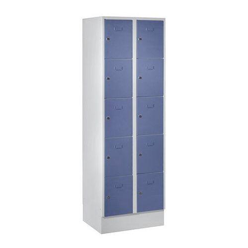 System zamykanych schowków z garderobami, 10 przegród o szer. 300 mm, szaro-nieb